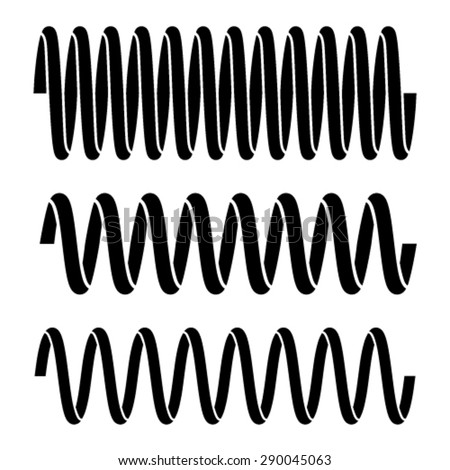 vector tension spring black symbols - stock vector