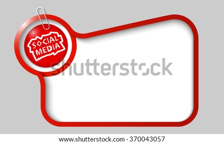 Vector text box for any text with social media headline and paper clip - stock vector