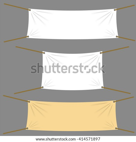 Vector Textile Banners with Copy Space Suspended by Ropes by all Four Corners and Stretched Tight Hanging. White Vinyl Banner is Waving. Various Empty Promotional Banners. - stock vector