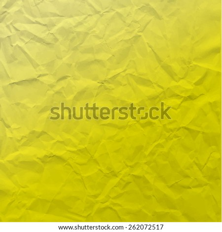 Vector texture of crumpled paper. Background paper. Textured wallpaper. Modern color significant  yellow. Use for label, card, banner etc. Eps 10 vector file.  - stock vector