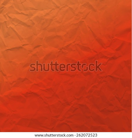 Vector texture of crumpled paper. Background paper. Textured wallpaper. Modern color significant  orange. Use for label, card, banner etc. Eps 10 vector file.  - stock vector