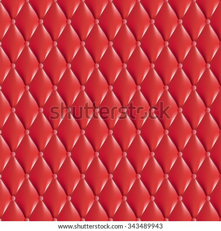 Vector Texture, Red antique style leather with rhombus. Classic white of retro wall, door, sofa or studio interior   - stock vector