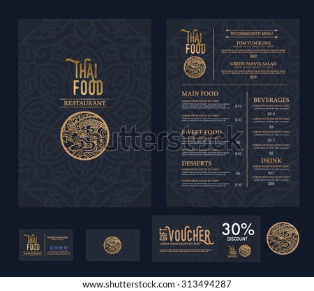 vector thai food restaurant menu template. - stock vector