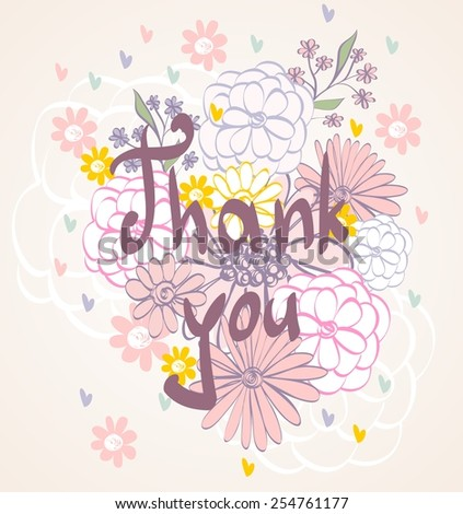 Vector Thank you script greeting card with flowers. - stock vector