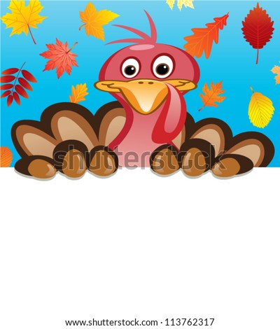 vector thanksgiving day design of turkey holding blank sheet of paper for your text - stock vector