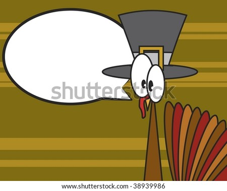 Vector Thanksgiving turkey with pilgrim hat on patterned backgorund; blank speech bubble - stock vector