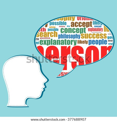 vector the silhouette of his head with the words on the topic of social networking - stock vector