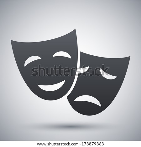 Vector theatrical masks icon - stock vector
