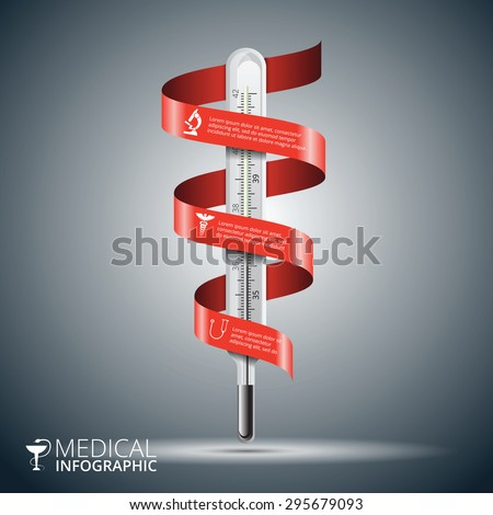 Vector thermometer with red ribbon for infographics. Template for diagram, graph, presentation and chart. Medical healthcare concept with 3 options, parts, steps or processes. Abstract background - stock vector