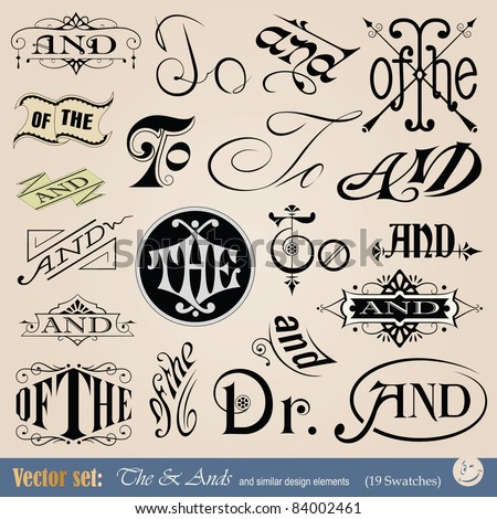 Vector thes, tos & ands - perfect for headlines, signs and other graphic projects - stock vector