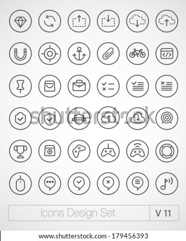 Vector thin icons design set. Modern simple line icons. Ultra thin icons on white background.  - stock vector