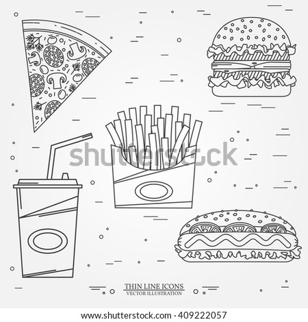 Vector thin line icon pizza, fries, soda, hot dog and hamburger . For web design and application interface, also useful for infographics. Vector illustration. - stock vector