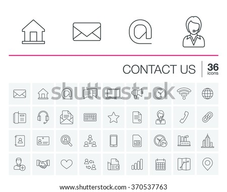 Vector thin line icons set and graphic design elements. Illustration with contact us outline symbols. Communication, home, call, speech bubble, email, letter, envelope, handshake linear pictogram - stock vector