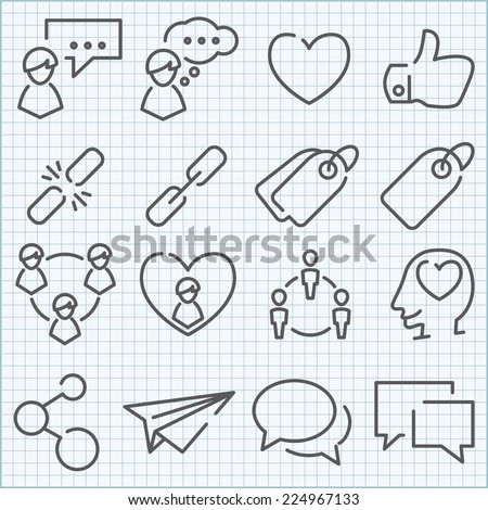 Vector thin line icons set for web design and user interface in applications made in flat graphic style. Nice detail and easily identifiable. Ideal for clean design. - stock vector