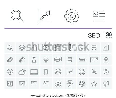 Vector thin line rounded icons set and graphic design elements. Illustration with SEO outline symbols. Digital network, analytics, social media and market linear pictogram - stock vector
