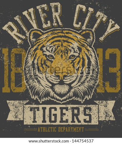 Vector three color retro tiger mascot athletic design with tiger head mascot illustration, vintage athletic fonts (designed by myself) and matching textures (all on separate layers, of course). - stock vector