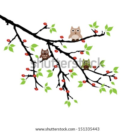 vector three funny owls sitting on the tree branch - stock vector