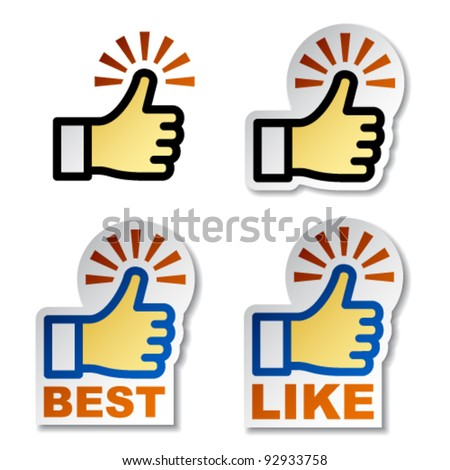 vector thumb up hand stickers - stock vector