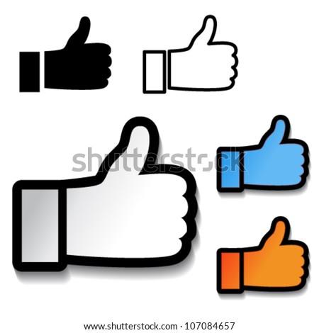 Vector thumb up hand symbol - stock vector
