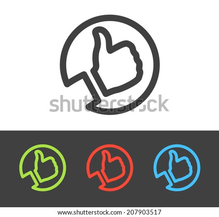 Vector thumbs up icon set, line and flat design  - stock vector