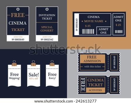 Vector ticket set - stock vector
