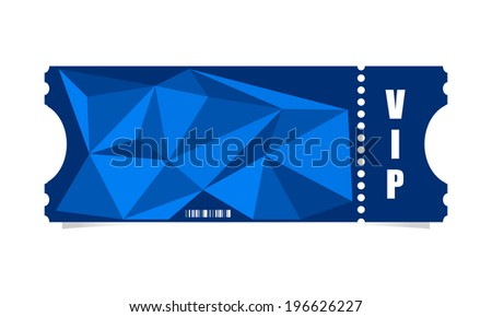 Vector ticket with modern triangle design - stock vector
