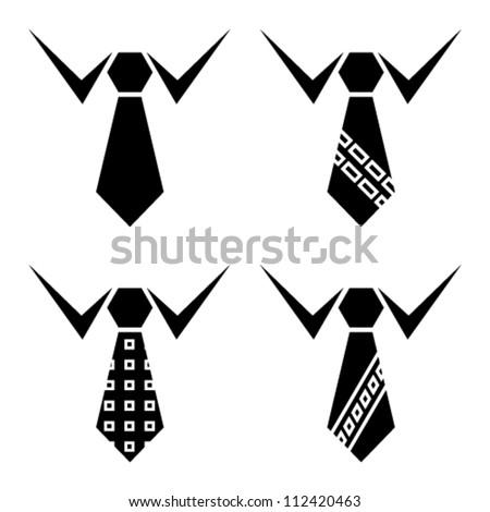vector tie black symbols - stock vector
