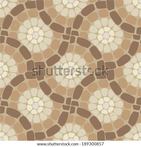 vector tile mosaic floor, stone background pattern - stock vector
