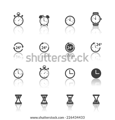 Vector time clock timer icons set isolated on white background - stock vector