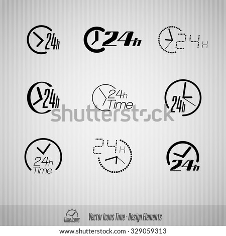 Vector time icons. 24 hours symbols. Design elements. - stock vector