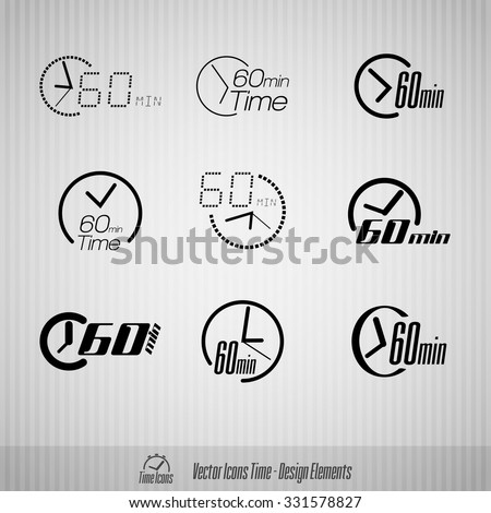 Vector time icons. 60 minutes symbols. Design elements. - stock vector