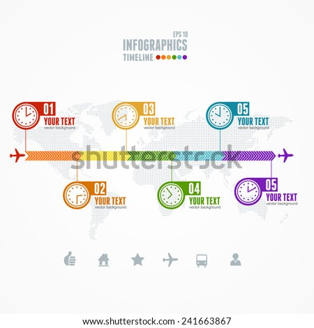 Vector Timeline Infographic. Map and clock. Business concept - stock vector