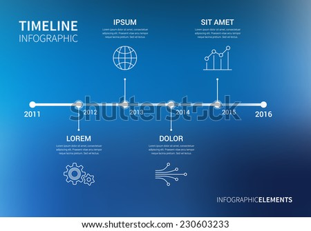Vector timeline infographic with unfocused background and report template. Modern and clean design  - stock vector