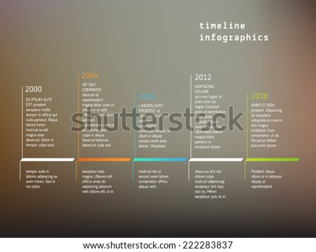 Vector timeline infographics with color markers / indicators and text placeholders on soft mesh background. For presentations and reports. - stock vector