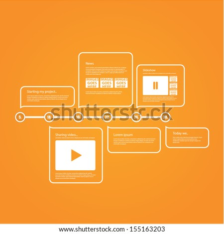 Vector timeline template. Modern design timeline template with place for your content. - stock vector