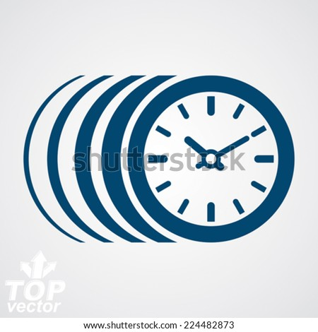 Vector timer, eps 8 clear vector illustration. Time runs fast conceptual graphic design element. Time management pictogram, includes additional version. - stock vector