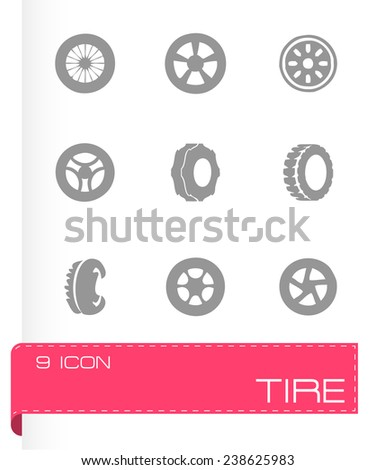 Vector tire icon set on grey background - stock vector
