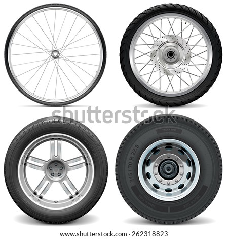 Vector Tires for Bicycle Motorcycle Car and Truck - stock vector