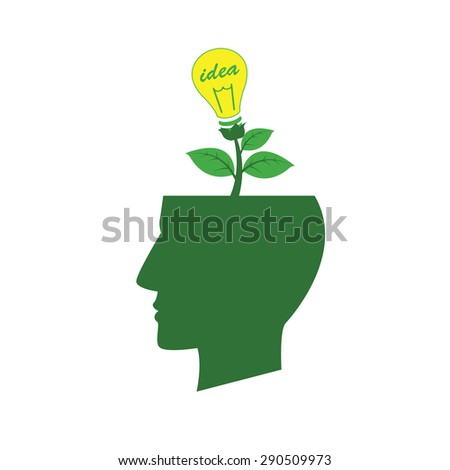 Vector to express their creativity by trees and lamp as a symbol. - stock vector