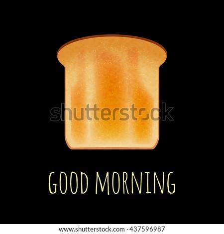 Vector toast isolated on black. Toast bread vector illustration. Realistic bread slice on black. Vector breakfast toast concept. Toast icon isolated. - stock vector