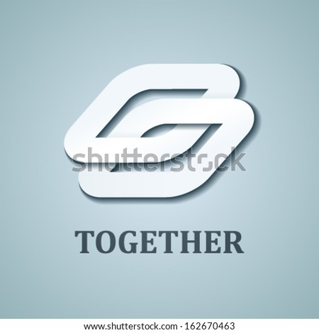 vector together white paper icon design template - stock vector