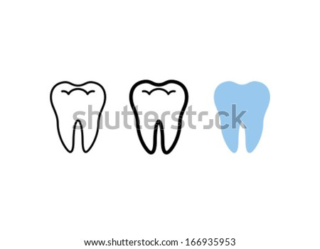 Vector Tooth Icon Symbol Set - stock vector