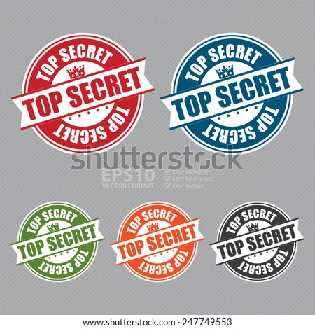 Vector : Top Secret Sticker, Icon or Label - stock vector