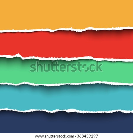 Vector torn paper. Collection of  four colorful pieces of torn paper with ripped edges - stock vector