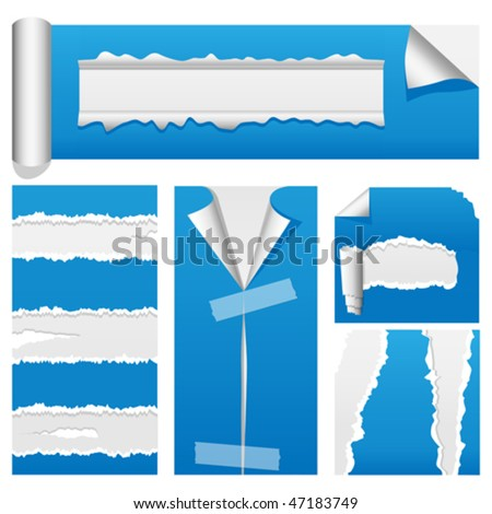 Vector torn paper design elements suitable for web or presentations. Rip, tear and peel variations included. JPG and TIFF versions of this vector illustration are also available in my portfolio - stock vector