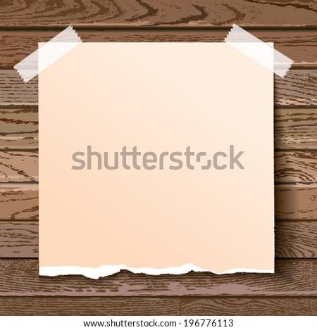 Vector torn paper on dark wooden background. - stock vector