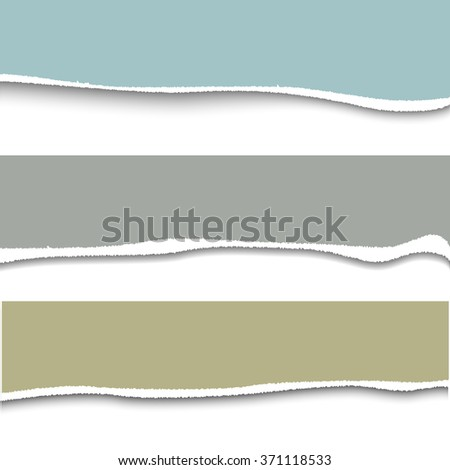 Vector torn paper. Set of three banner torn paper for ypur design with space for text - stock vector