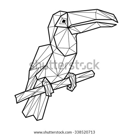 Vector - toucan geometric (illustration of a many triangles) - stock vector