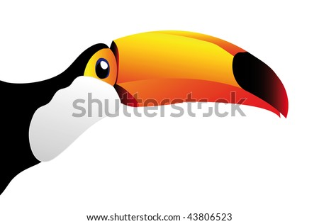 vector toucan isolated on white background - you can cut this image and use it for your images - stock vector