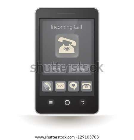 Vector touchscreen smartphone with incoming call on display - stock vector